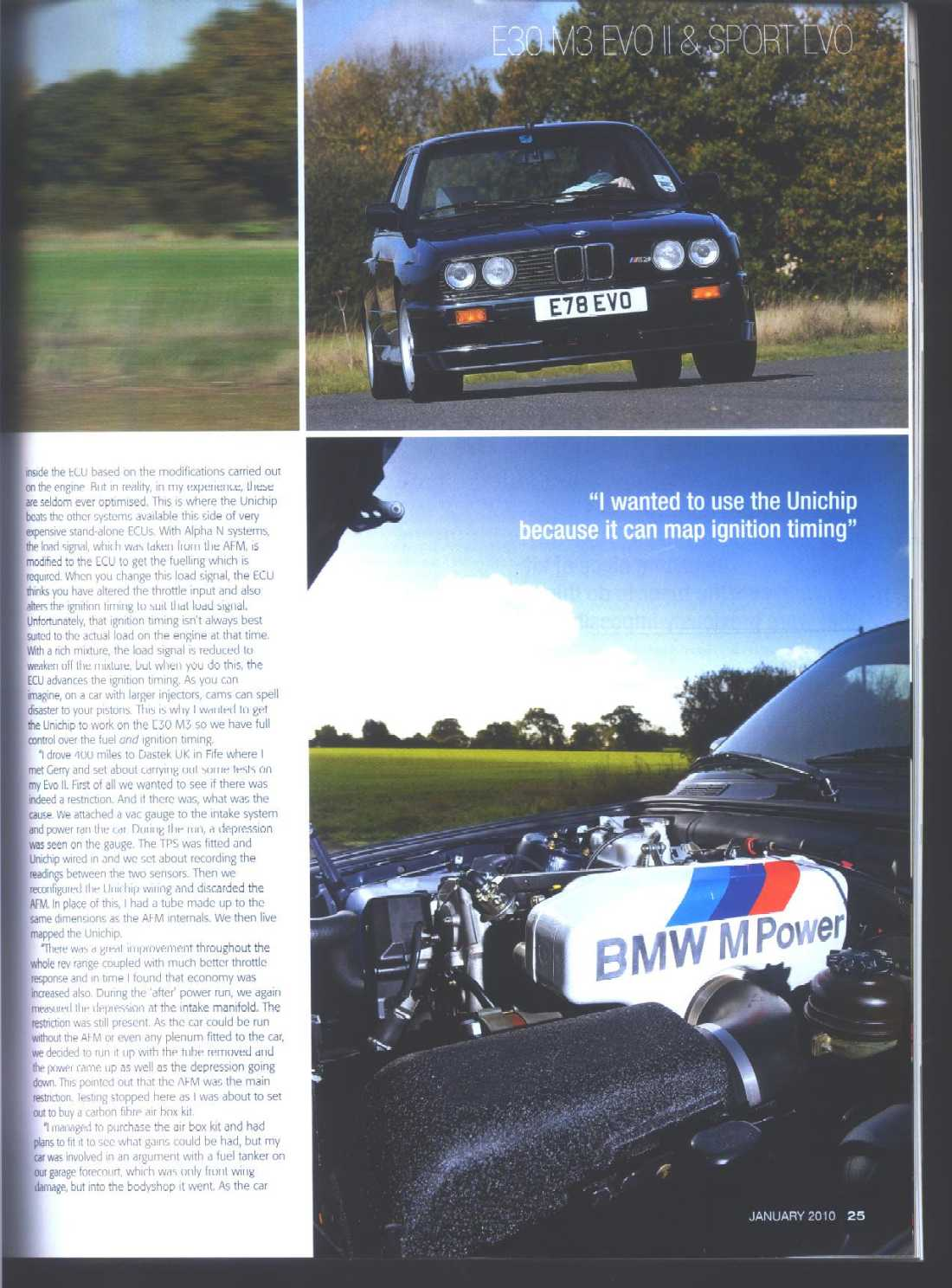 Page 4 of BMWCar magazine article featuring the Rongineer M3 Airbox Kit